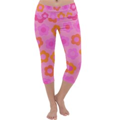 Pink floral pattern Capri Yoga Leggings by Valentinaart