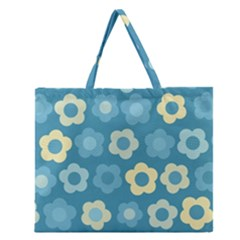 Floral Pattern Zipper Large Tote Bag by Valentinaart