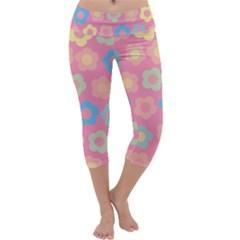 Floral pattern Capri Yoga Leggings by Valentinaart