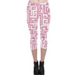 Pink Pattern Capri Leggings  by Valentinaart