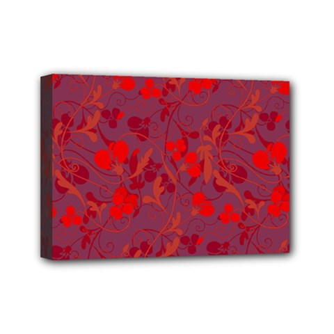 Red Floral Pattern Mini Canvas 7  X 5  by Valentinaart