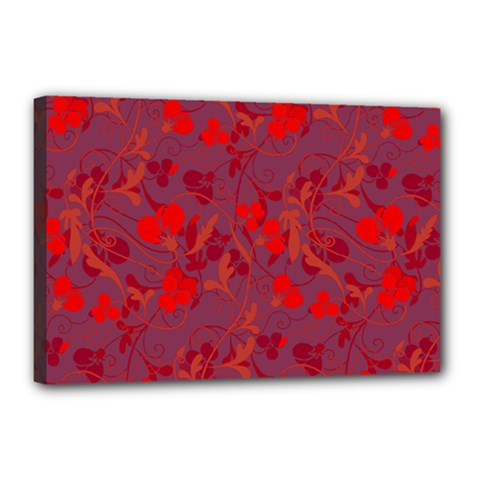 Red Floral Pattern Canvas 18  X 12  by Valentinaart