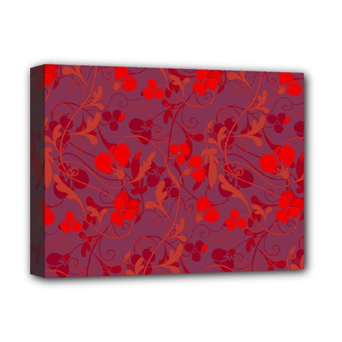 Red Floral Pattern Deluxe Canvas 16  X 12   by Valentinaart