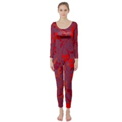 Red Floral Pattern Long Sleeve Catsuit by Valentinaart