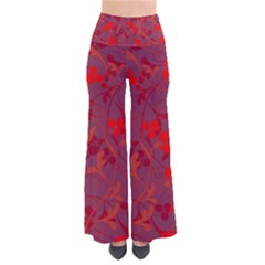 Red Floral Pattern Pants by Valentinaart