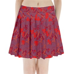 Red Floral Pattern Pleated Mini Skirt by Valentinaart