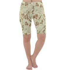 Floral Pattern Cropped Leggings  by Valentinaart