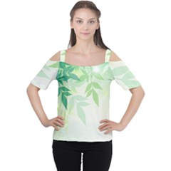 Spring Leaves Nature Light Women s Cutout Shoulder Tee by Simbadda