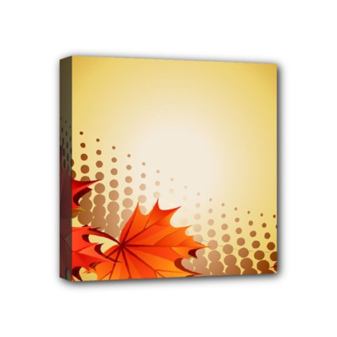 Background Leaves Dry Leaf Nature Mini Canvas 4  X 4  by Simbadda