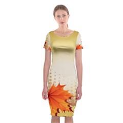 Background Leaves Dry Leaf Nature Classic Short Sleeve Midi Dress