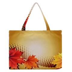 Background Leaves Dry Leaf Nature Medium Zipper Tote Bag by Simbadda