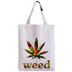 Marijuana Leaf Bright Graphic Zipper Classic Tote Bag by Simbadda