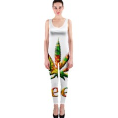 Marijuana Leaf Bright Graphic Onepiece Catsuit by Simbadda