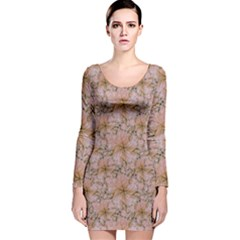 Nature Collage Print Long Sleeve Velvet Bodycon Dress by dflcprintsclothing