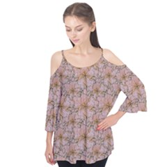 Nature Collage Print Flutter Sleeve Tee  by dflcprintsclothing