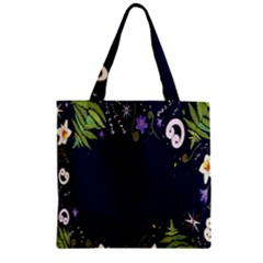 Spring Wind Flower Floral Leaf Star Purple Green Frame Zipper Grocery Tote Bag by Alisyart