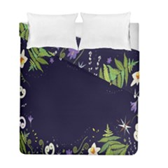 Spring Wind Flower Floral Leaf Star Purple Green Frame Duvet Cover Double Side (full/ Double Size) by Alisyart
