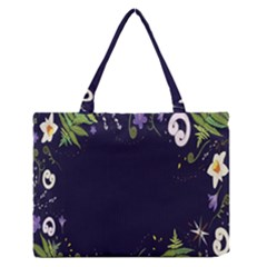 Spring Wind Flower Floral Leaf Star Purple Green Frame Medium Zipper Tote Bag by Alisyart