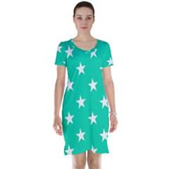 Star Pattern Paper Green Short Sleeve Nightdress by Alisyart