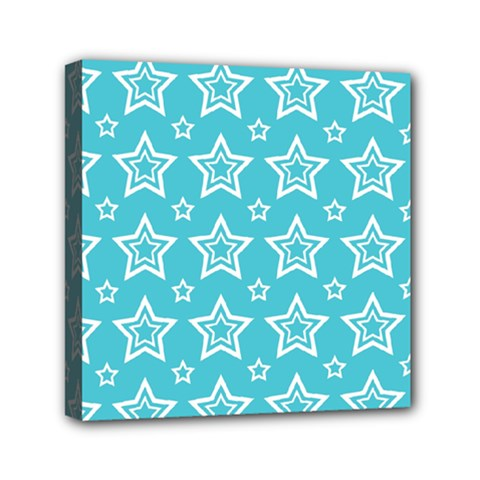 Star Blue White Line Space Sky Mini Canvas 6  X 6  by Alisyart
