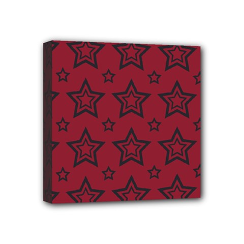 Star Red Black Line Space Mini Canvas 4  X 4  by Alisyart