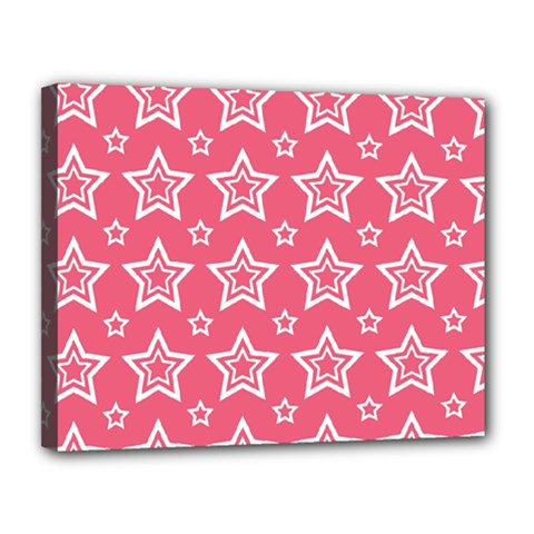 Star Pink White Line Space Canvas 14  X 11  by Alisyart