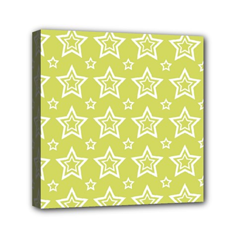 Star Yellow White Line Space Mini Canvas 6  X 6  by Alisyart