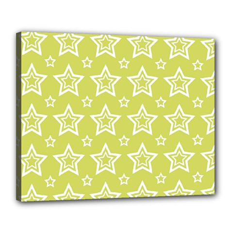 Star Yellow White Line Space Canvas 20  X 16  by Alisyart