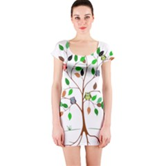 Tree Root Leaves Owls Green Brown Short Sleeve Bodycon Dress