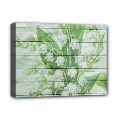 On Wood May Lily Of The Valley Deluxe Canvas 16  X 12   by Simbadda