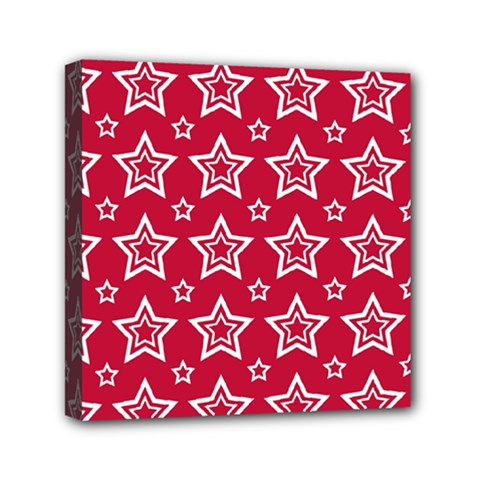 Star Red White Line Space Mini Canvas 6  X 6  by Alisyart