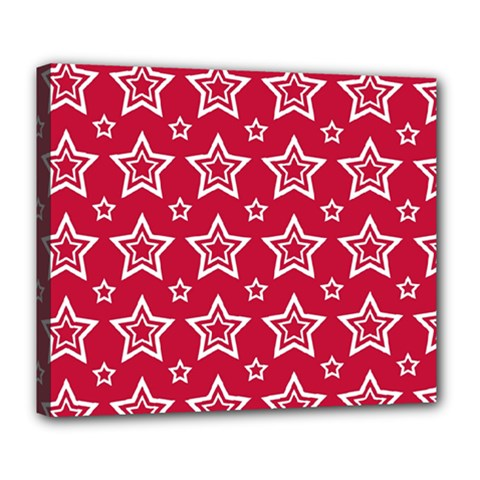 Star Red White Line Space Deluxe Canvas 24  X 20   by Alisyart