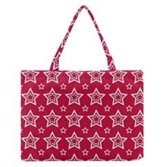 Star Red White Line Space Medium Zipper Tote Bag by Alisyart