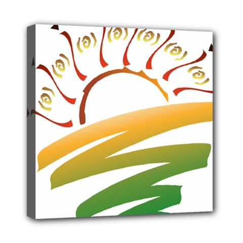 Sunset Spring Graphic Red Gold Orange Green Mini Canvas 8  X 8  by Alisyart