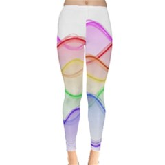 Twizzling Brain Waves Neon Wave Rainbow Color Pink Red Yellow Green Purple Blue Leggings  by Alisyart