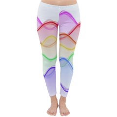 Twizzling Brain Waves Neon Wave Rainbow Color Pink Red Yellow Green Purple Blue Classic Winter Leggings by Alisyart