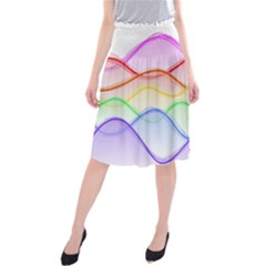 Twizzling Brain Waves Neon Wave Rainbow Color Pink Red Yellow Green Purple Blue Midi Beach Skirt by Alisyart