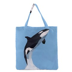 Whale Animals Sea Beach Blue Jump Illustrations Grocery Tote Bag