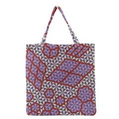 Triangle Plaid Circle Purple Grey Red Grocery Tote Bag by Alisyart