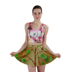 Tree Root Leaves Contour Outlines Mini Skirt by Simbadda