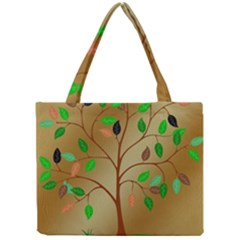 Tree Root Leaves Contour Outlines Mini Tote Bag by Simbadda