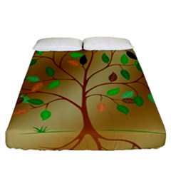 Tree Root Leaves Contour Outlines Fitted Sheet (california King Size) by Simbadda