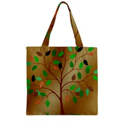 Tree Root Leaves Contour Outlines Zipper Grocery Tote Bag by Simbadda