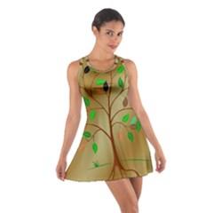 Tree Root Leaves Contour Outlines Cotton Racerback Dress