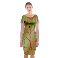 Tree Root Leaves Contour Outlines Classic Short Sleeve Midi Dress
