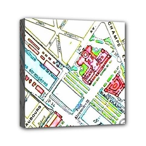 Paris Map Mini Canvas 6  X 6  by Simbadda