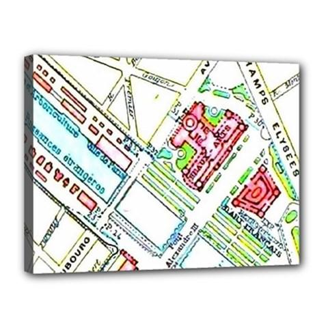 Paris Map Canvas 16  X 12  by Simbadda