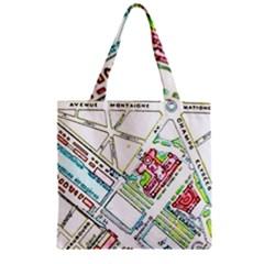 Paris Map Zipper Grocery Tote Bag by Simbadda