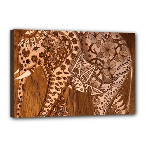 Elephant Aztec Wood Tekture Canvas 18  X 12  by Simbadda