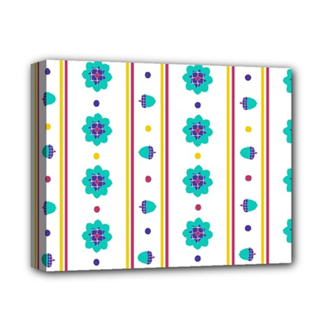 Beans Flower Floral Blue Deluxe Canvas 14  X 11  by Alisyart